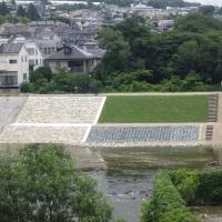 兵庫県武庫川 災害復旧工事 石張り・じゃかご・張芝工